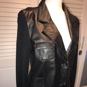 Leather / sweater combo jacket